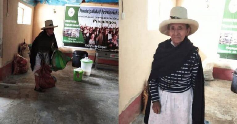 Abuelita donó alimentos cosechados por ella a afectados por COVID-19